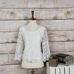 Topshop Lace Sleeves White Top 6